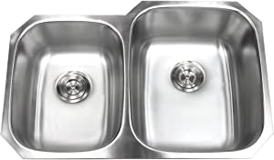 Kingsman 32 inch 18 Gauge Stainless Steel Undermount Double Bowl (40/60) Kitchen Sink (Sink Only)