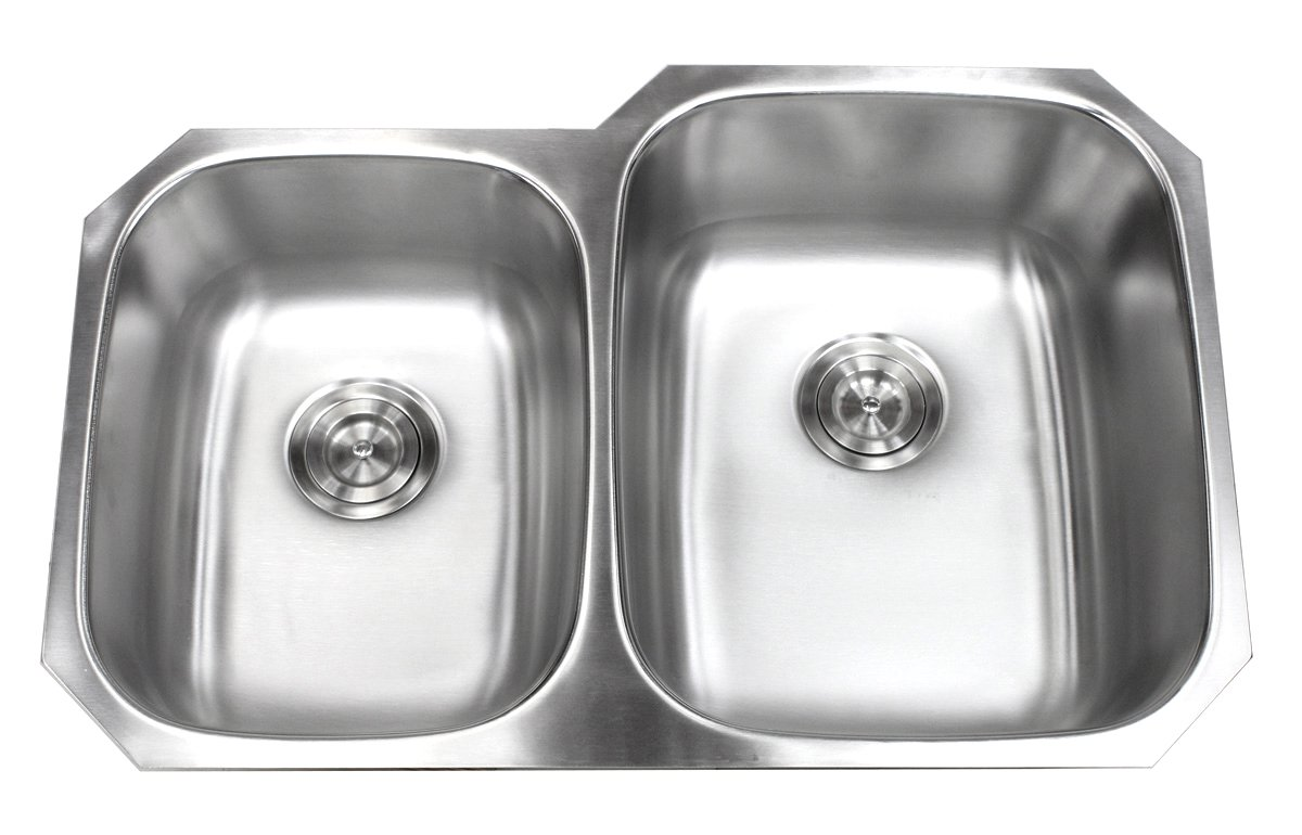 Kingsman 32 inch 18 Gauge Stainless Steel Undermount Double Bowl (40/60) Kitchen Sink (Sink with Strainer) by KH KINGSMAN HARDWARE (Image #2)