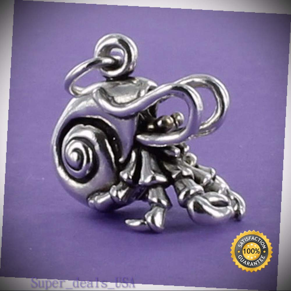 Hermit Crab Charm Sterling Silver for Bracelet Shell Crustacean Ocean Pet Legs DIY Handmade Ornament Crafts by Super_deals_USA