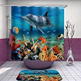 SARA NELL Mildew Resistant Liner Shower Curtain dolphin ocean theme animal Polyester Fabric Shower Curtain (72'' x 72'') Set with 12 Hooks and Bath Mats Rugs (23.6'' x 15.7'') for Bathroom-Set of 2