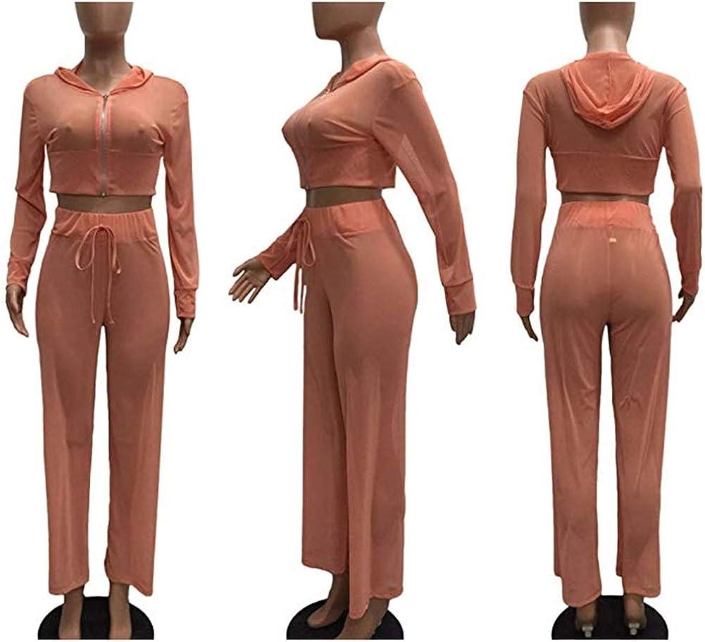Women See Through Sheer Mesh Bandage Two Piece Bikini Cover Up Hoodie Crop Tops and Legging Pants