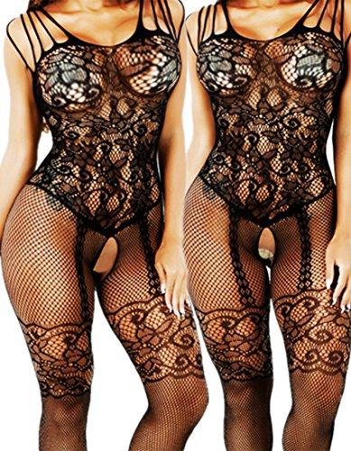 cb8aecb5f7 Daisland Women Sexy Lingerie Sleepwear Nightwear Fishnet Bodysuit  Bodystocking (02 Pieces Black 0018) - Buy Online in Oman.