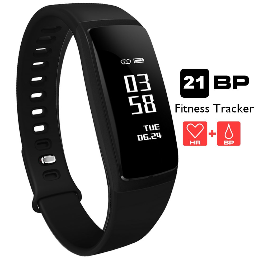 AUPALLA Fitness Tracker, 21BP Smart band Activity Tracker Work With Heart Rate Monitor and Blood Pressure Measure Pedometer Sleep Monitor Calories Track Support iPhone Android Smartphone (1Black)
