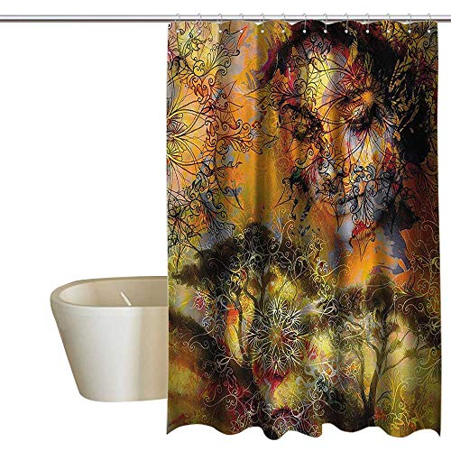 EwaskyOnline Modern Decor Hotel Style Shower Curtain Goddness Floral Mandala Swirl Forest Print Ivy Color Painting Contemporary Shower Hooks are Included W48 x L84 -