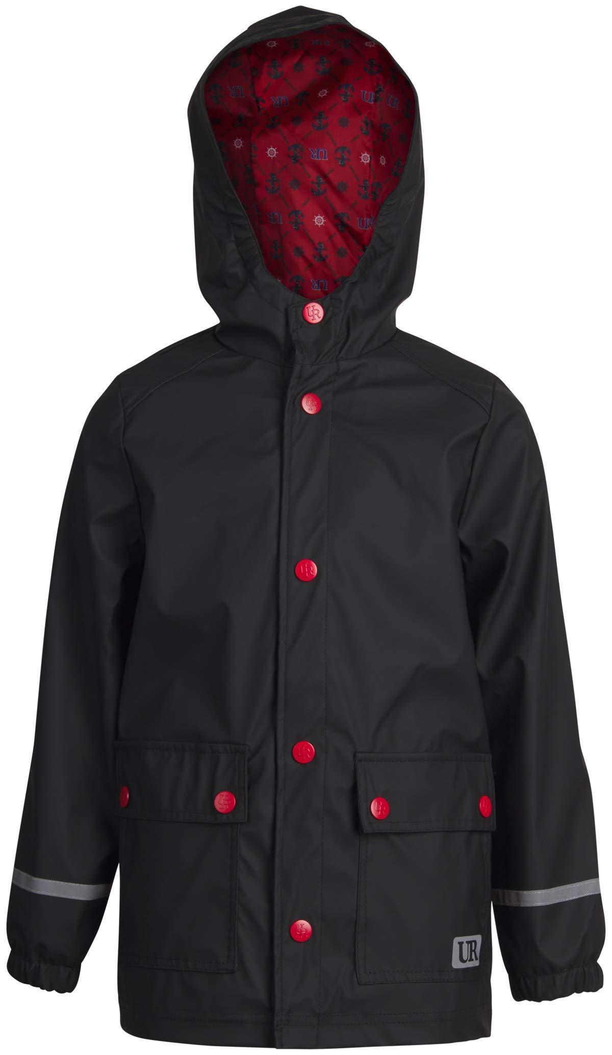 Urban Republic Boys' Waterproof Vinyl Hooded Rain Jacket with Reflective Taping, Size 8, Black' by Urban Republic