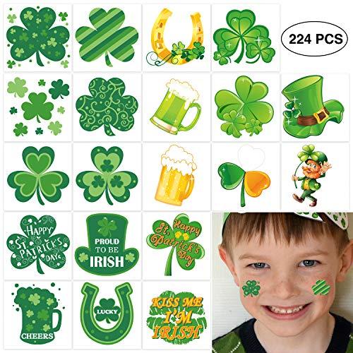jollylife 224PCS St. Patrick's Day Kids Tattoos - Shamrock Irish Temporary Party Favors ()