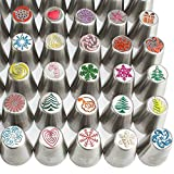 100pc Russian cake tips Special Christmasedition! 70 NEW design numbered stainless steel nozzles,2leaf tip, 3-color+ single coupler, 20 pastry bags, 5 silicon cake cups, Christmas tips, largest set