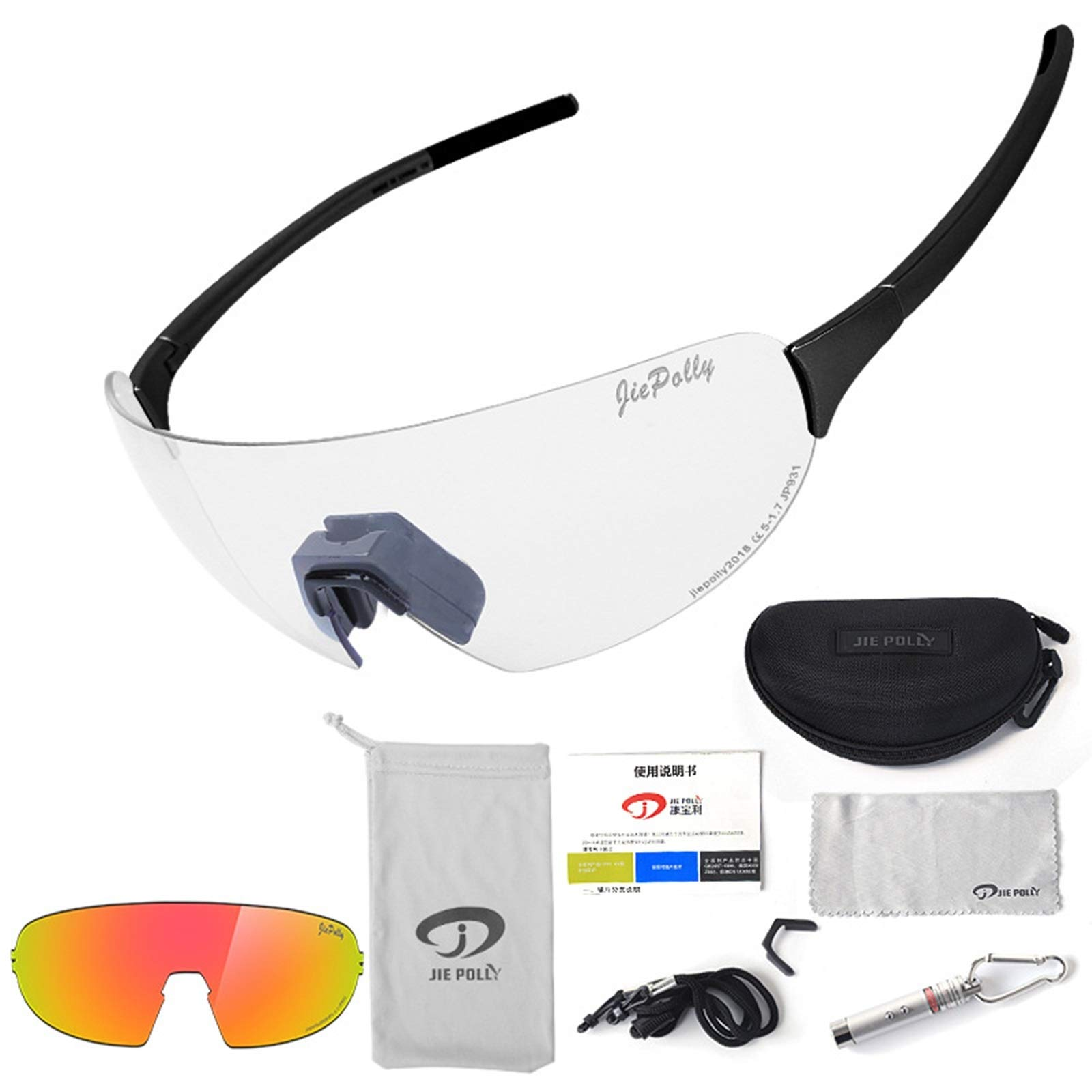 Adisaer Outdoor Sports Goggles Outdoor Sports Riding Color-Changing Glasses Men and Women Running Fishing Bicycle Windproof Polarized Glasses Black Upgrade 2 for Adults