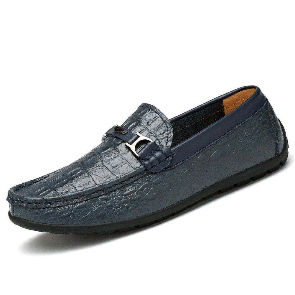 Mocasines Hombre Patrón de Cocodrilo Casual Zapatos Slip on Conducción Viajar Vendimia 38 EU Azul