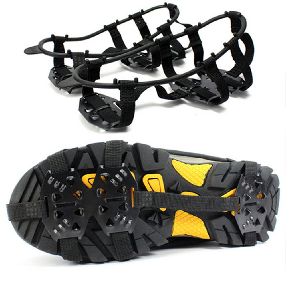 Ezyoutdoor 1 Pair 18 Teeth Spikes Footwear with Stainless Steel Chain, Anti-Slip Silicone Snow Traction Cleats for Boots/Shoes, Ice Gripper for Outdoor Walking Climbing Hiking(Medium Size)