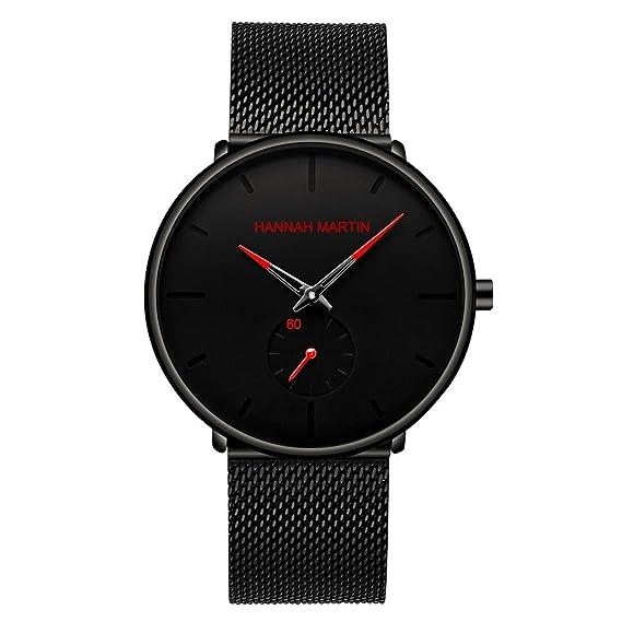 Allskid Hombres Relojes Conciso Personalidad Marcar con Pequeños Segundos Dial Acero Inoxidable Malla Correa Relojes de Pulsera Mens Watches