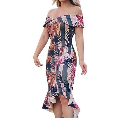 8ae0344ea8 Women Floral Printed Off Shoulder Bandeau Sleeveless Slash Neck Ruffle Hem  Bodycon Dress at Amazon Women's Clothing store: