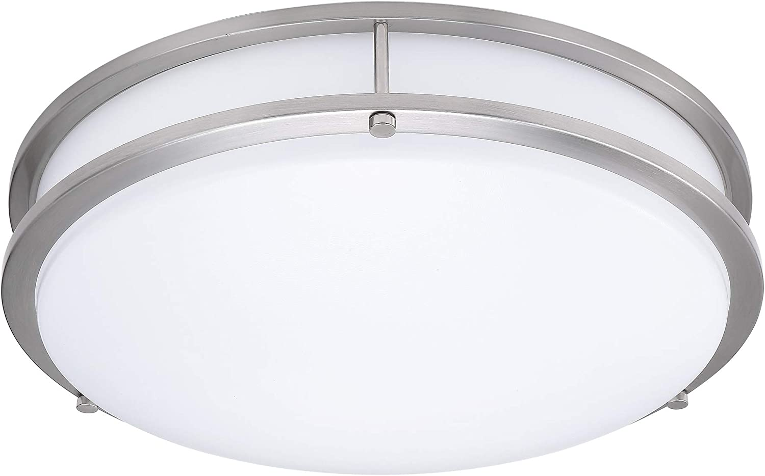 (1 Pack) 14-Inch Double Ring Dimmable LED Flush Mount Ceiling Light, 22W (100W Equivalent), 1800lm, 4000K Natural White, Brushed Nickel Finish with Plastic Shade, ETL Listed, Commercial or Residential