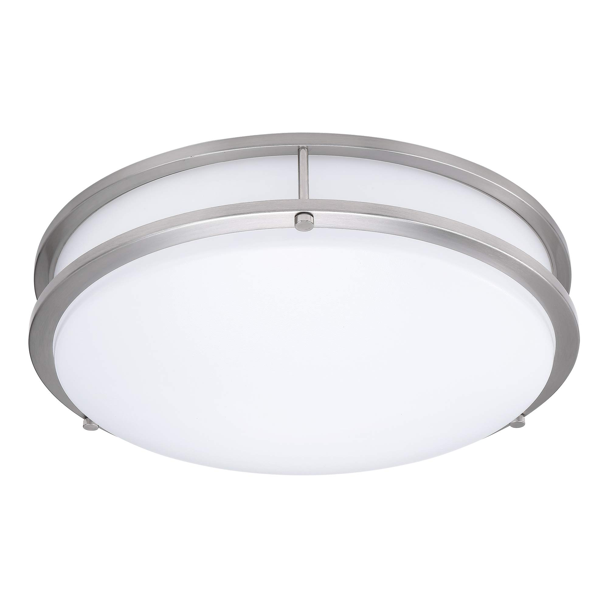 15-Inch Double Ring Dimmable LED Flush Mount Ceiling Light, 22W (100W Equivalent), 1800lm, 4000K Natural White, Brushed Nickel Finish with Plastic Shade, ETL Listed, Commercial or Residential