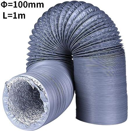 Womdee Tubo Ventilacion, Universal Tubo Flexible PVC de Aluminio Ø100mm para Todas Las Marcas y Modelos de ventilación Secadora de Ropa, Campana extractora y Ventilación Sistemas (1m / 4): Amazon.es: Hogar