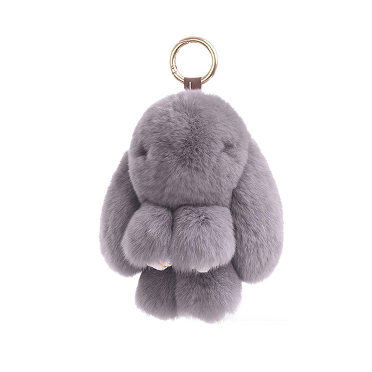 27 Color Soft Cute Pom Pom Ball Doll Pendant Plush Charms IKEPOD Rex Rabbit Fur Keychain Fluffy Real Bunny Keyring
