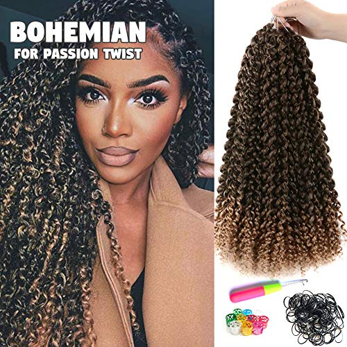 6Pcs Passion Twist Hair Ombre Blonde 18 Inch Long Bohemian Braids for Passion Twist Crochet Braiding Hair Hot Water Setting Itch Free Synthetic Fiber Natural Hair Extension (18, T27)