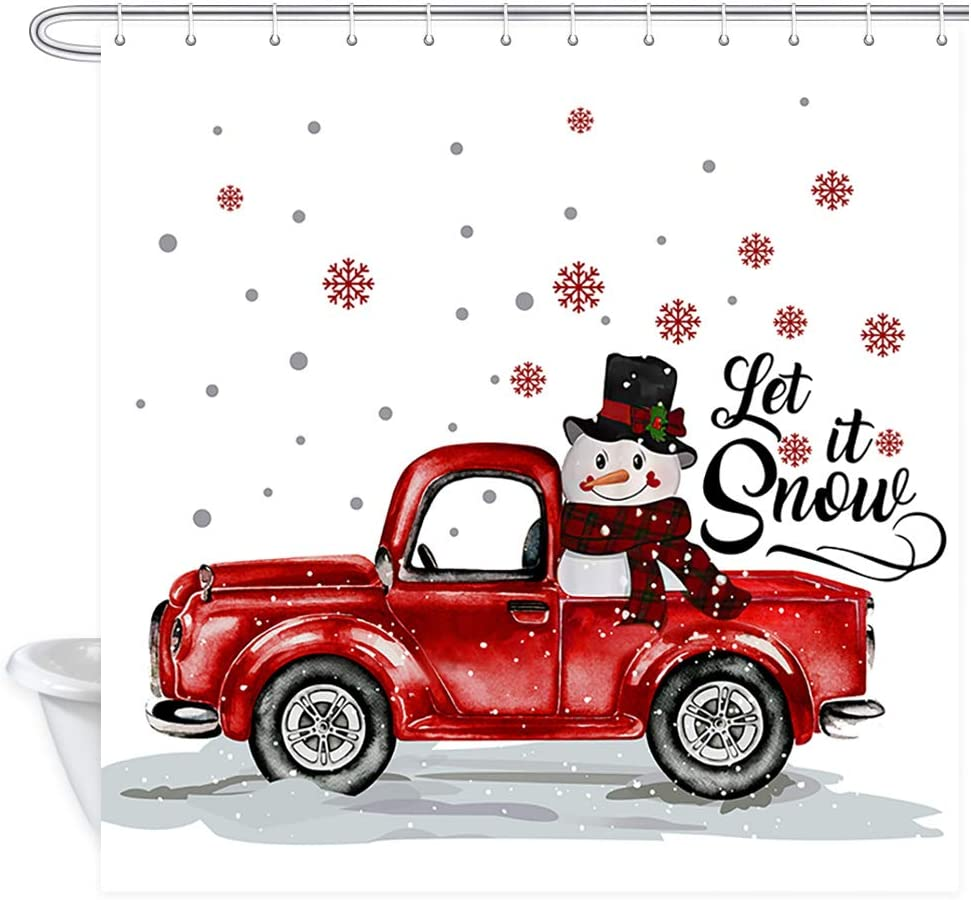 MERCHR Christmas Shower Curtain Set with 12 Hooks, Snowman on Red Truck with Falling Snowflake Bath Curtain Fabric Bathroom Curtain, 69x72inches Waterproof Polyester