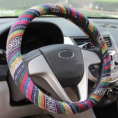 Semoss Universal Automotive Multicolores Funda Volante Cuero Cubre Volante Piel Cubierta Volante Coche,Tama/ño:M,37-38 cm,multicolor