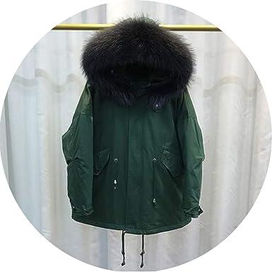 Amazon.com: Cuello de piel abrigo de invierno para mujer ...