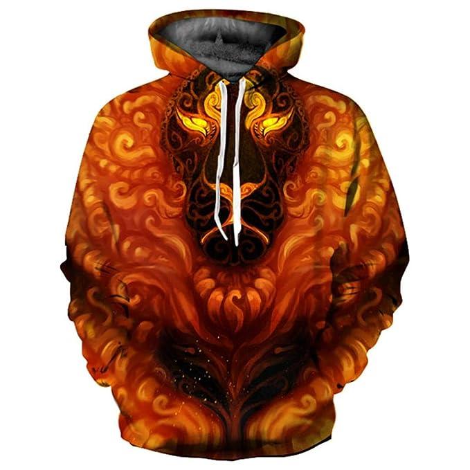 Hombres/Mujeres Sudaderas con Capucha 3D Imprimir Fuego Flores Animales Sudaderas con Capucha Chándales Delgados Tops: Amazon.es: Ropa y accesorios