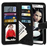 Galaxy Note 3 Case, Vofolen 2 in 1 Flip Cover Note 3 Wallet Case Folio PU Leather Protective Shell Magnetic Removable Slim Case Card Holder Slot Wrist Strap for Galaxy Note 3 (Black)