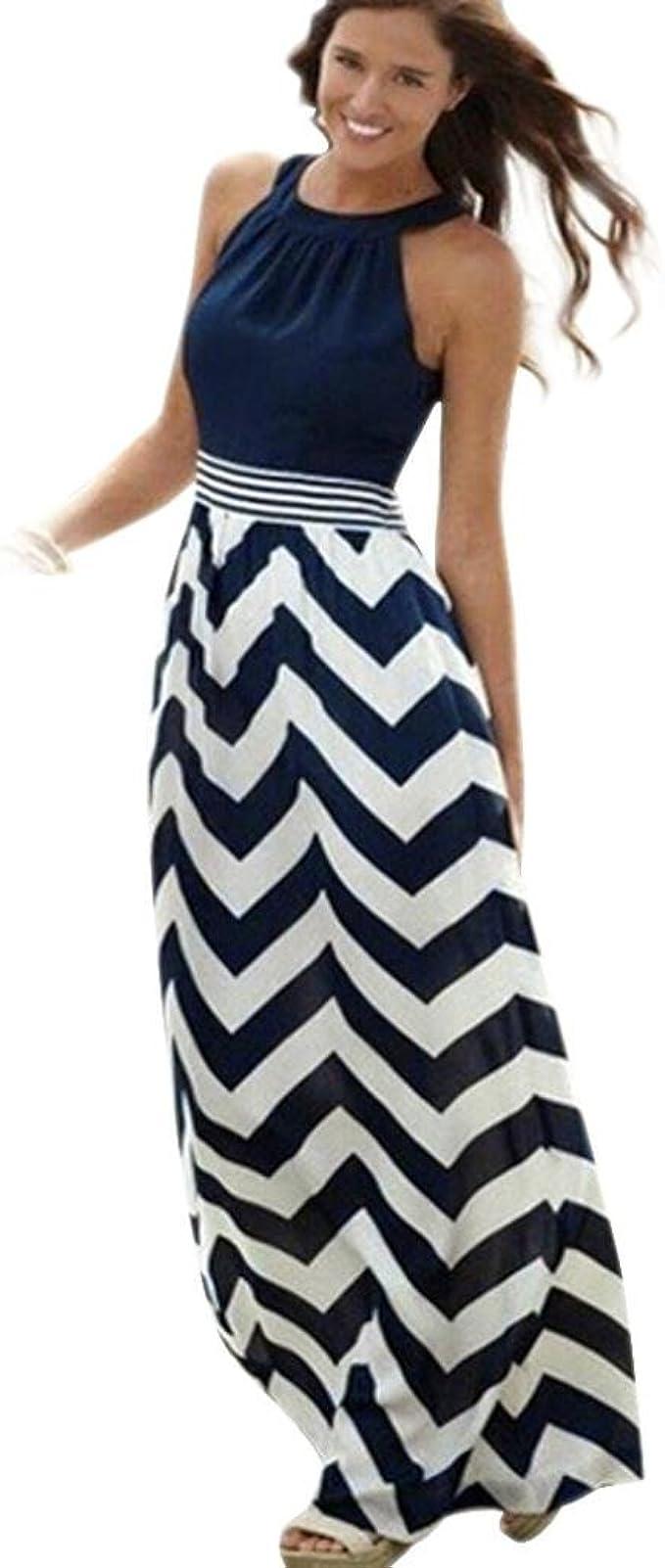 Dasongff Kleider Damen, Sommerkleid Damen Partykleid High Waist Striped  Ärmellos Kleider Lange Maxi Kleid Abendgesellschaft Strand Kleider