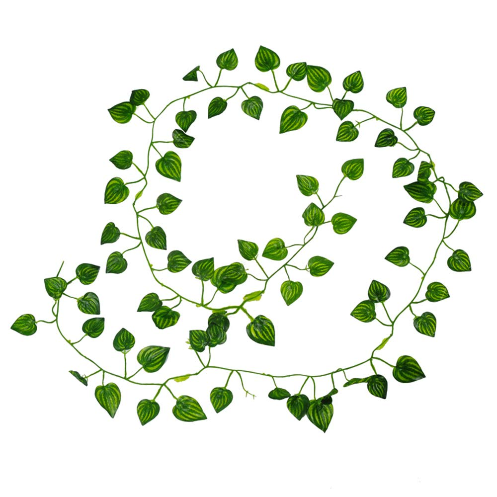 Semoon Artificial Plants Ivy Vines 12 Pcs 6.6 Feet Watermelon Leaves Hanging Garland Fake Foliage Flowers Home Kitchen Garden Office Wedding Wall Decor for Party Festival