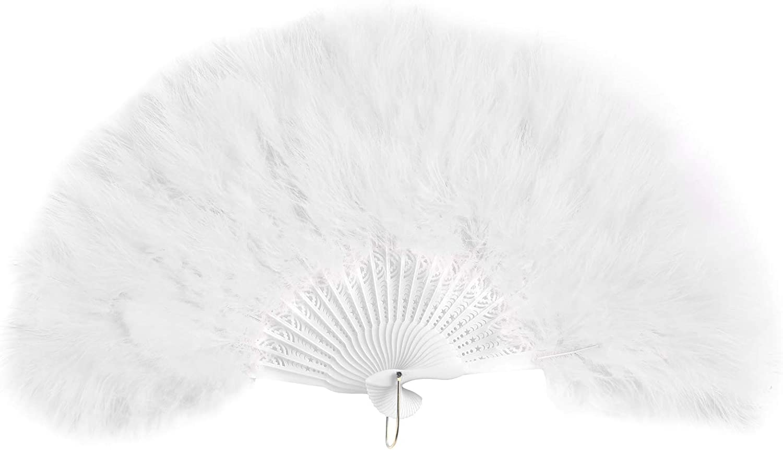 AWAYTR Vintage Marabou Feather Fan - Hand Held Folding Fan Accessories for Halloween Party (White)