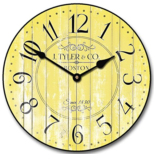 Harbor Yellow Wall Clock,  Whisper Quiet, non-ticking