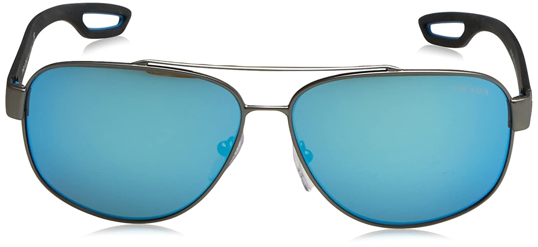 Prada Sport Herren Sonnenbrille 0PS58QS DG15M2, Grau (Gunmetal Rubber/Light Green Blue), 63