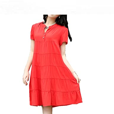 e6ceac50283 Image Unavailable. Image not available for. Color  Baqijian Plus Size M-4Xl  Short Sleeve Women Summer Dress ...
