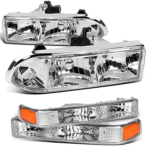 AUTOSAVER88 98 99 00 01 02 03 04 Chevy S10 Blazer Headlight Assembly+Park/Signal Lamps,OE Projector Headlamp,Chrome housing,One-Year Limited Warranty(4 pcs,15098267/15098268/16526217/16526218)
