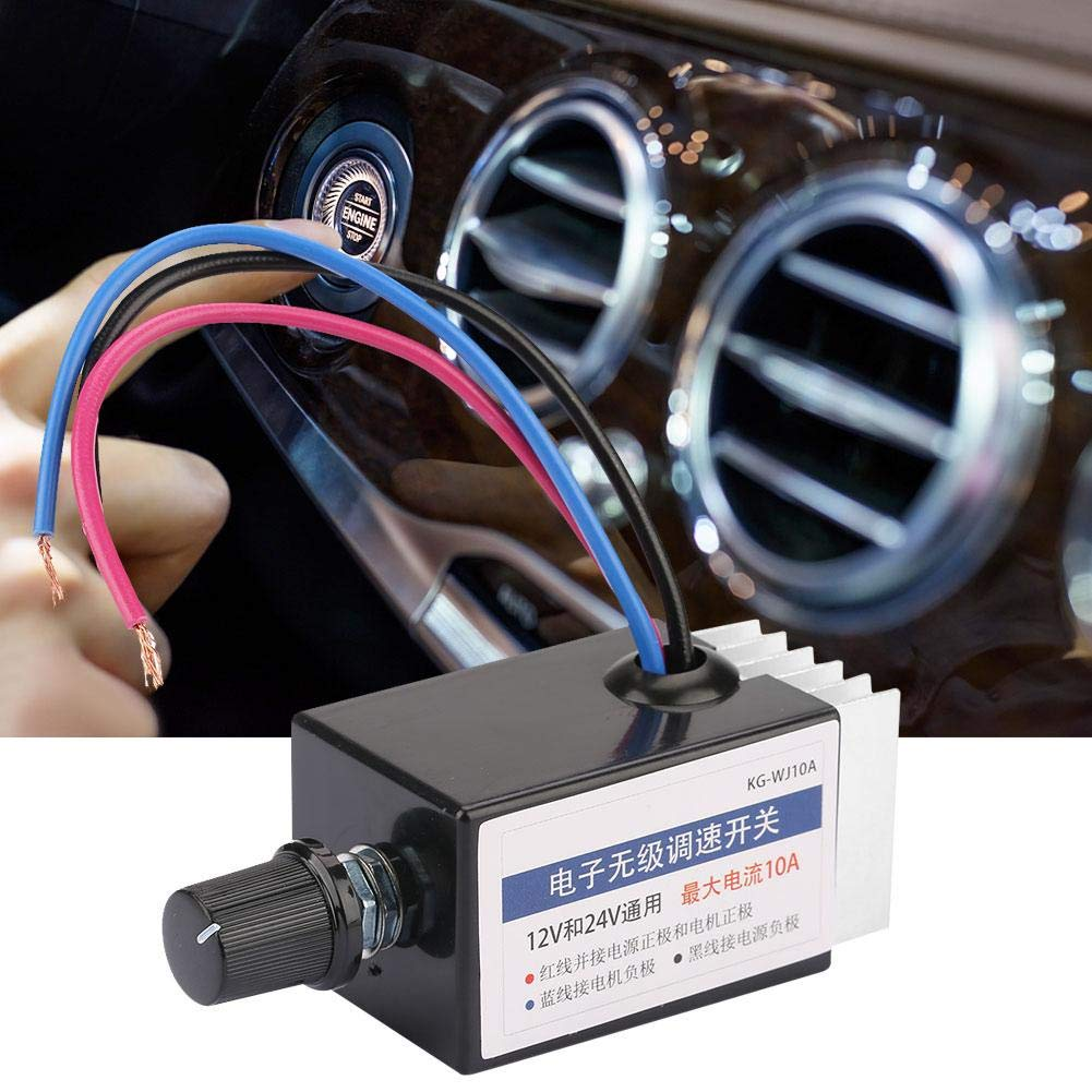 L/üftern usw Defroster Drehzahlregler Schalter,Jectse DC 12V//24V 10A verbesserter Universal-Motordrehzahlregler-Schalter mit K/ühlk/örper f/ür Einstellung der Geschwindigkeit von Heizl/üftern