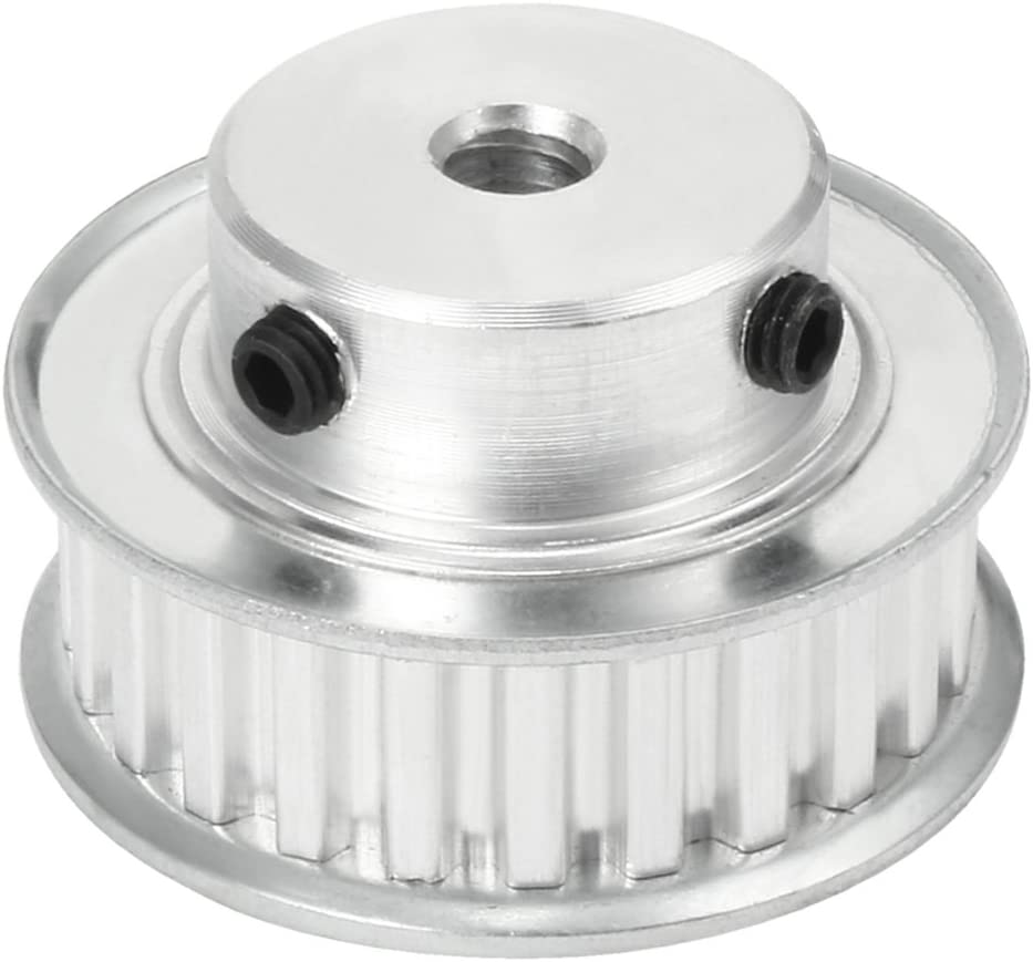 uxcell Aluminum XL 24 Teeth 8mm Bore Timing Belt Idler Pulley Flange Synchronous Wheel for 10mm Belt 3D Printer CNC