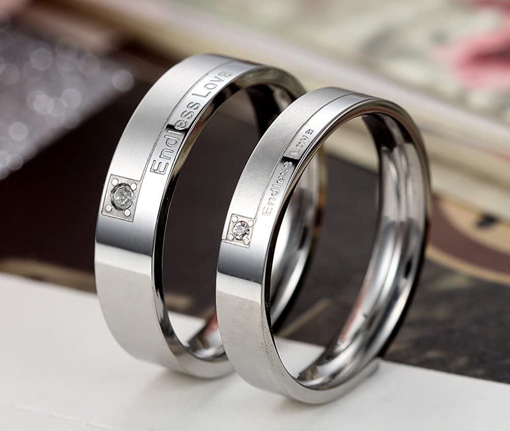 Flongo His Hers Stainless Steel Endless Love Wedding Engagement Promise Band Anniversary Proposal Ring
