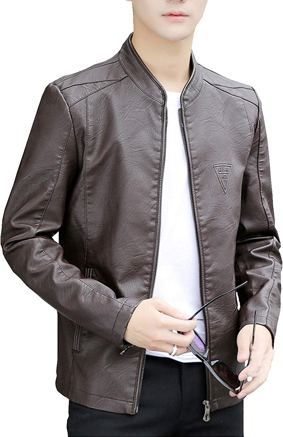 D.B.M Mens Fashion Casual Long Sleeve Stand Collar Solid Color Slim Leather