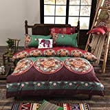 LELVA Bohemian Ethnic Exotic Style Bedding Bohemian Duvet Covers Boho Bedding Set Full Queen Size Summer Style Sabanas Sheet 4 Pieces (Twin, 4)