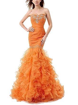 M Bridal Womens Beaded Rhinestones Sweetheart Ruffles Sweep Train Mermaid Prom Dress Orange Size 2