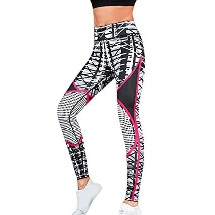 Dreamyth-Summer Women High Waist Yoga Print Splice Legging Running Sports Pants Trouser (Gray