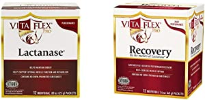 Vita Flex Lactanase Performance Supplement Packets, Pre & Post Workout Packets for Horses, Lactanase & Recovery, 24 Pack (12 Packets of Each)