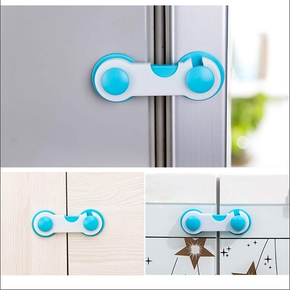 Doors Child Safety Locks Toilet 1Pcs Child Cupboard Drawer Locks Strong Adhesive Baby Lock Latch for Cabinets Fridge Blue