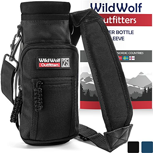 (Wild Wolf Outfitters - #1 Best Water Bottle Holder for 25 oz Bottles - Carry, Protect and Insulate Your Flask with This Military Grade Carrier w/ 2 Pockets and an Adjustable Padded Shoulder Strap.)