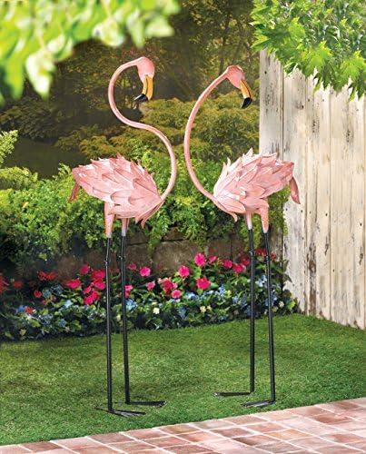 Jardín estatuas y esculturas Flamingo al aire libre decoración de figuras de animales (los niños patio césped patio detalles de Metal (2 unidades): Amazon.es: Jardín
