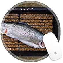 Luxlady Round Gaming Mousepad 26076141 Fresh trout fish ready to be cooked on fireplace