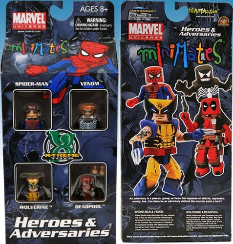 Exclusive Minimates Adversaries Spider Man Wolverine