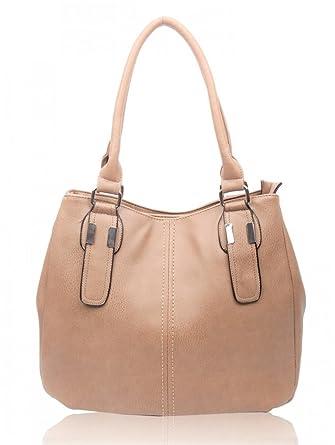 LeahWard® Women s Fashion Tote Bags Quality Faux Leather Shoulder Shopper  Bag Handbags CW893 (ALMOND 007497c54b32c