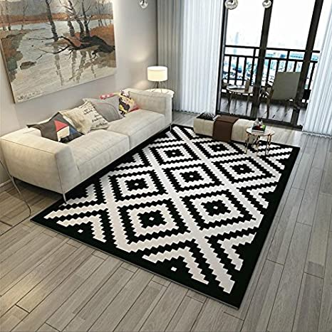 Black Rectangular Carpet Nordic Style Black And White Geometric Area Rug Mat For Living Room Coffee Table Bedroom Bedside Size 120 160cm Amazon Co Uk Kitchen Home