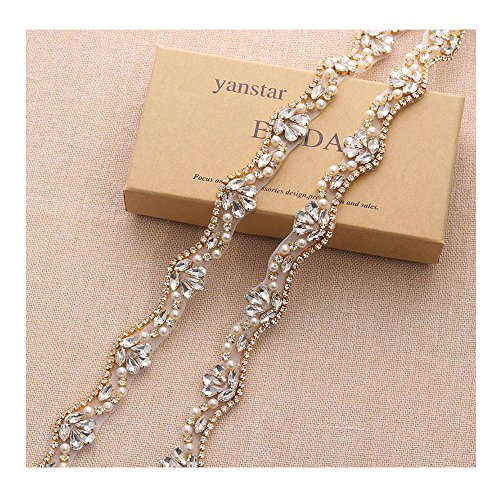 Yanstar Handmade Rose Rhinestone Trim Applique Crystal Beaded On Wedding Belt Sewing On Bridal (Iron Sash)