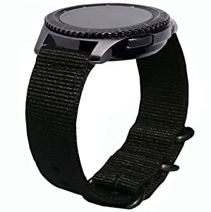 Gear S3 Frontier Bands, 22mm Quick Release Ticwatch Pro Nylon NATO Band Soft Replacement Strap Wristband for Samsung Galaxy Watch 46mm & Gear S3 Classic/Frontier SmartWatch by Olytop (NATO Black)